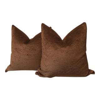 "22"" Chocolate Linen Velvet Pillows - A Pair"