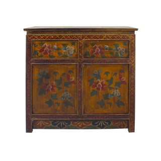Chinese Tibetan Distressed Rustic Floral Side Table Cabinet