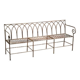 Polished Iron French Empire Style Three-Seat Bench
