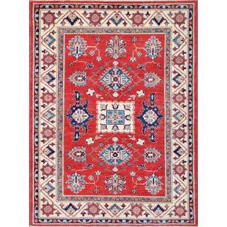 """Pasargad's Kazak Red & Cream Wool Rug- 5' x 6'8"""""""