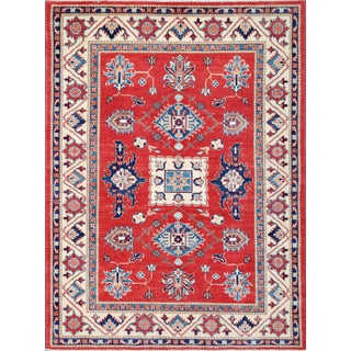 Pasargad's Kazak Red & Cream Wool Rug- 5' x 6'8""