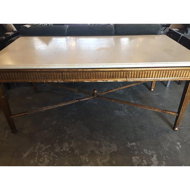 Nancy Corzine Marble Top Gold Desk - Image 3 of 6
