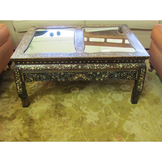 Carved Wood & Mother of Pearl Mirrored Coffee Table - Image 5 of 6