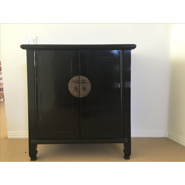 Spruce Wood Small Black Cabinets - Pair - Image 3 of 5