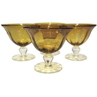 Amber Gold Pedestal Bowls - Set of 4