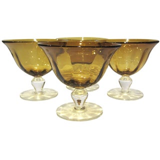 Amber Gold Pedestal Bowls - Set of 4