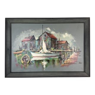 "Vintage ""Harbor Scene"" Oil Painting"