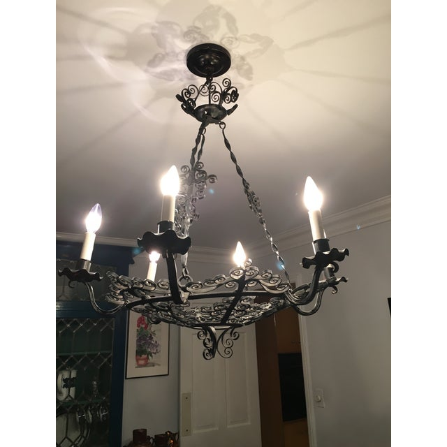 1930s Wrought Iron Spanish Chandelier - Image 2 of 4