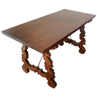 18th Century Refectory Spanish Table with Lyre Legs