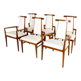 Mid Century Teak and White Leather Dining Chairs - Set of 6