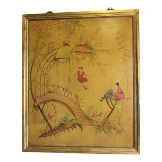 Large Vintage Painted Chinoiserie Panel