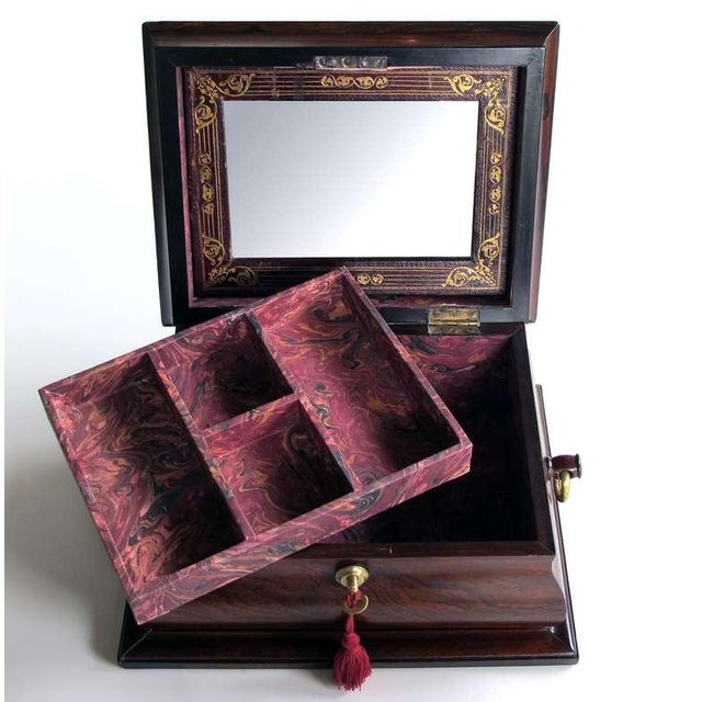 A Handsome and Well-Made English Regency Rosewood Bombe-Form Jewelry Box - Image 3 of 7