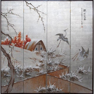 C. 1930 Japanese Byobu 4-Panel Screen