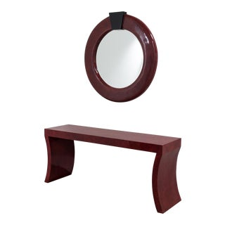 An Impressive Red Crackleware Finished Console and Mirror 1980s
