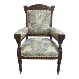 Antique Victorian East Lake Tapestry Arm Chair