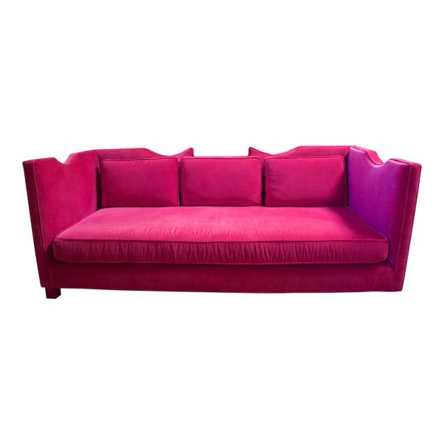 Deep Pink Velvet Sofa - Image 1 of 5