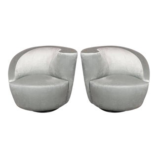 "Pair of Swiveling ""Nautilus"" Chairs by Vladimir Kagan in Smoked Platinum"