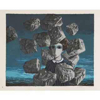 "Bergner, ""Portrait With Falling Rocks,"" Lithograph"