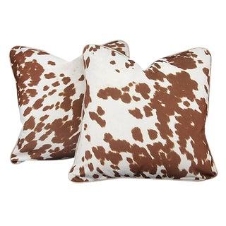 """Brown & White """"Pony"""" Throw Pillows - A Pair"""