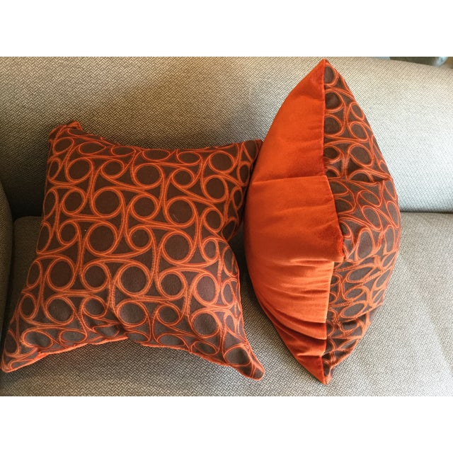 Kravet Orange Circle Jacquard/Pollack Orange Silk Velvet Pillows - a Pair - Image 7 of 8