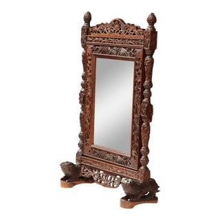 19th Century French Black Forest Carved Free Standing Mirror With Beveled Glass