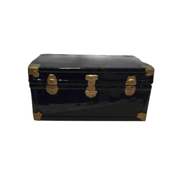Image of Vintage 1970s Black Ceramic Trunk Display Box