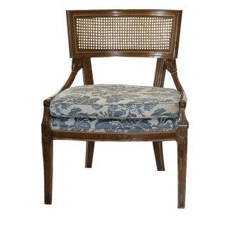 Vintage French Provincial Cane Back Upholstered Side Chair