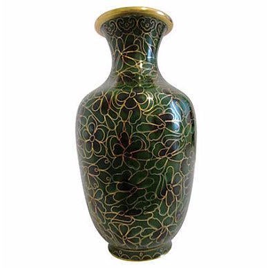 Vintage Chinese Cloisonné Black & Green Vase - Image 1 of 4