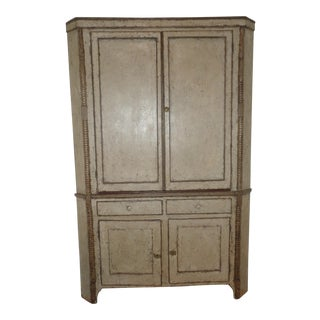 Antique French Country Rustic Corner Cabinet With Faux Finish