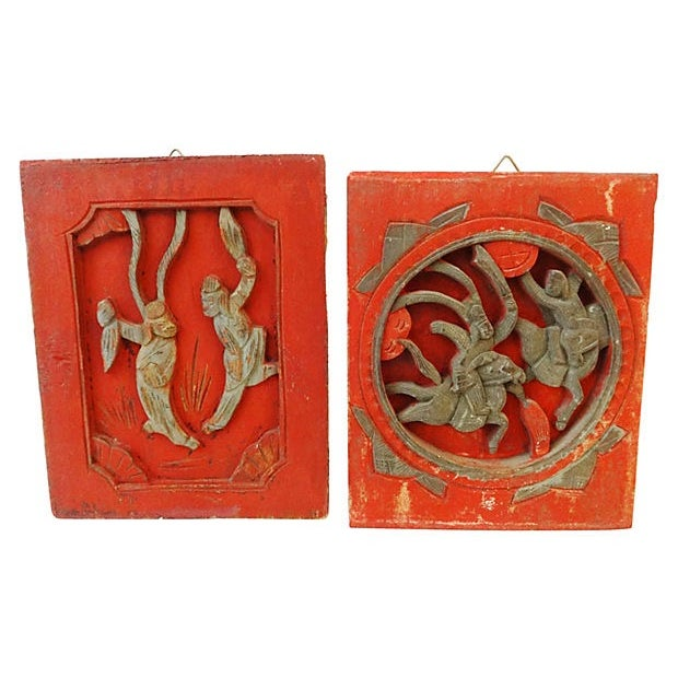 Antique Carved Wood Wall Hangings - A Pair - Image 1 of 6