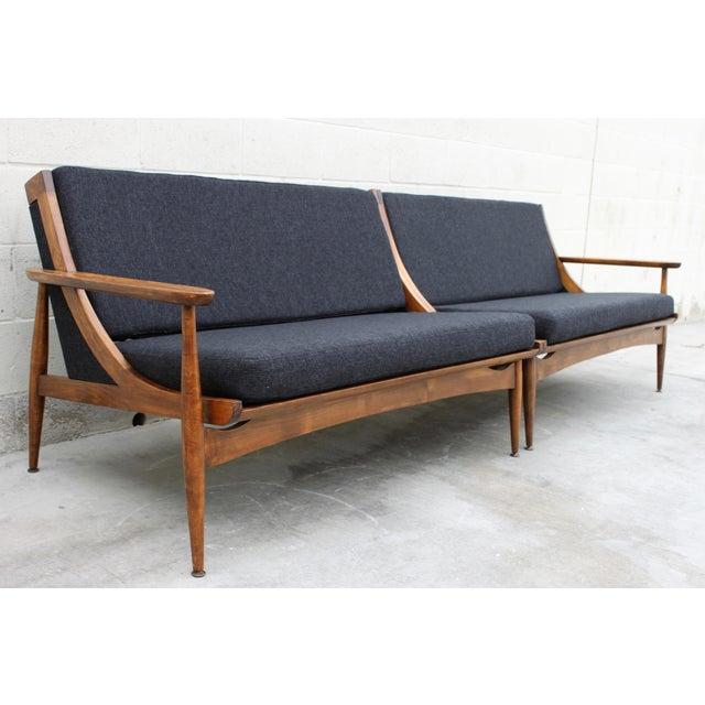 Walnut Danish Minimalist Spindle Back Sectional Sofa - Image 4 of 11