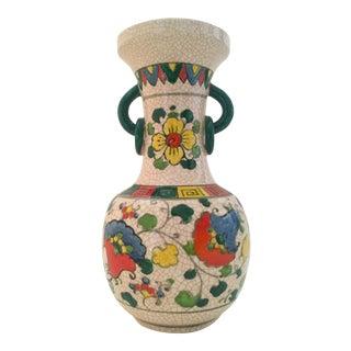 Vintage Japaned Ceramic Floral Urn Vase