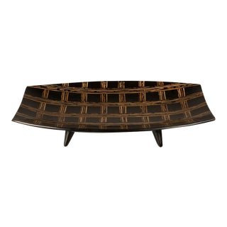 Modern Large Black Lacquer Tray Inlaid with Bamboo, Malaysia