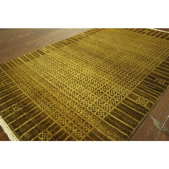 "Oriental Oushak Green Chobi Rug - 4'1"" x 6'7"" - Image 4 of 7"