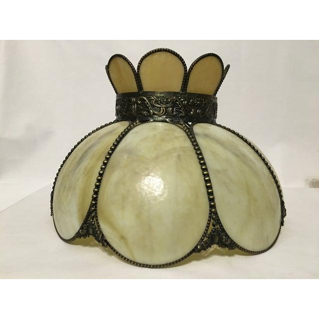 Cream & Tan Slag Glass Lamp Shade - Image 4 of 7