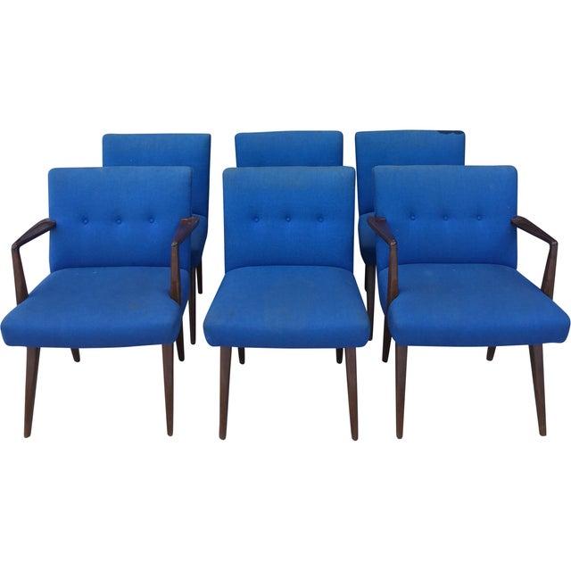Jens risom vintage walnut dining chairs set of 6 chairish - Jens risom dining chairs ...