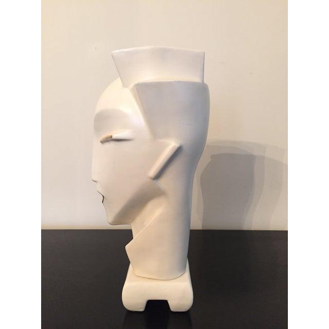 Vintage 1980s Deco Revival White Bust Sculpture - Image 3 of 9
