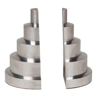 Solid Machined Steel Stepped Bookends, Pair