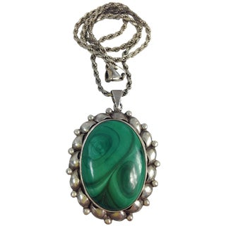 Large Sterling Silver Malachite Necklace 925