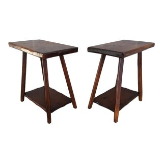 Hunt Country Furniture Rough Cut Pine End Tables - A Pair