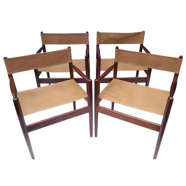 Rosewood Sling Chairs - Set of 4 - Image 1 of 8