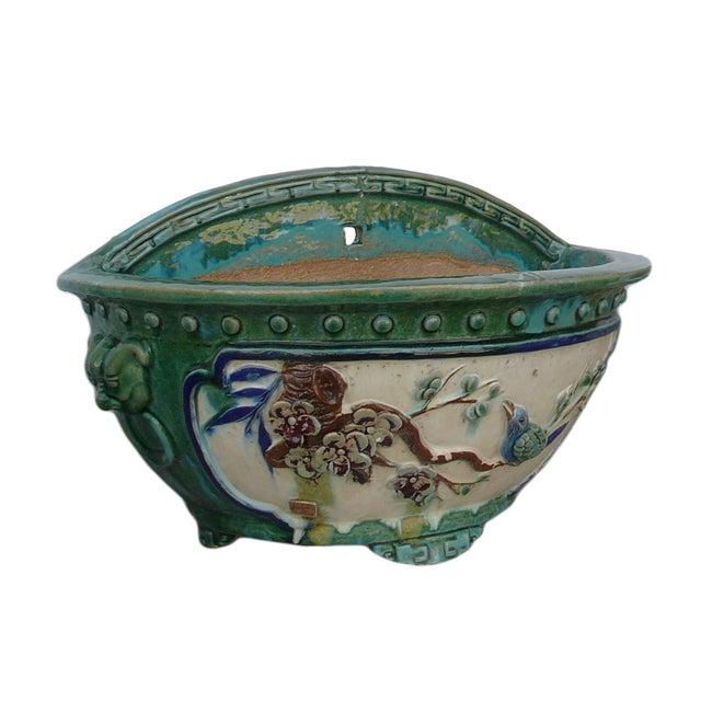 Image of Chinese Ceramic Flower Bird Half Wall Planter