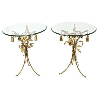 Italian Gilt Tole Side Tables - Set of 2