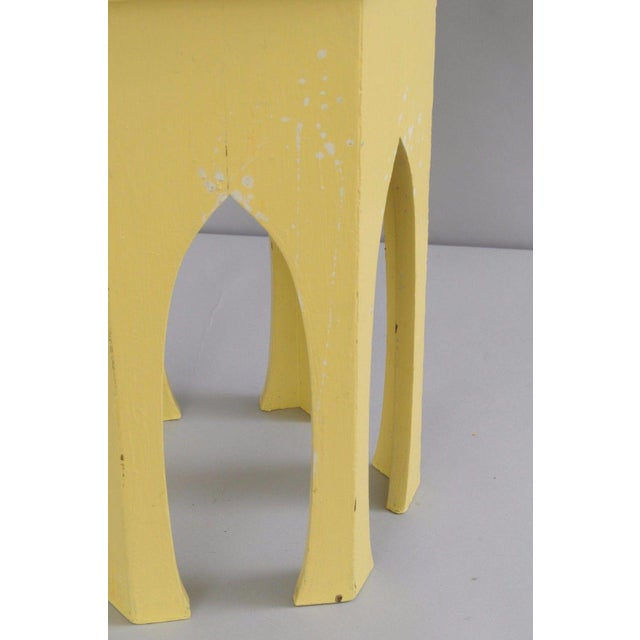 Primitive Rustic Moorish Style Yellow Painted Arched Accent Side Table - Image 10 of 11
