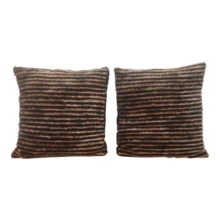 Black Striped Fringe Pillows - A Pair