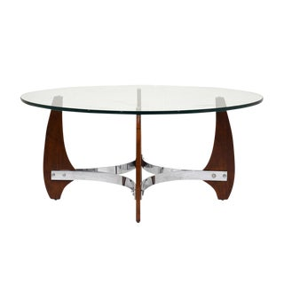 Modern Wood and Chrome Coffee Table