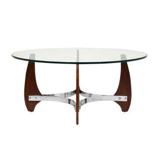 Modern Wood and Chrome Coffee Table