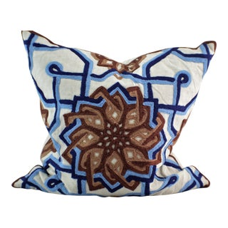 Kim Seybert Crewel Embroidered Throw Pillow