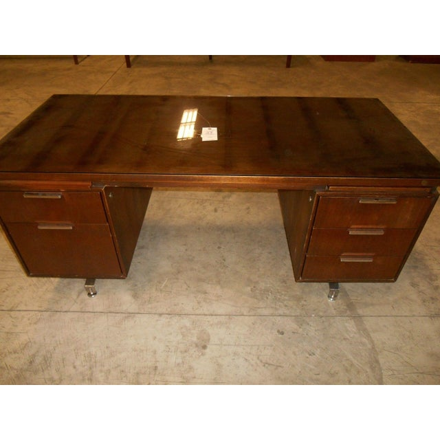 Mid-Century Modern Walnut Executive Desk - Image 4 of 5