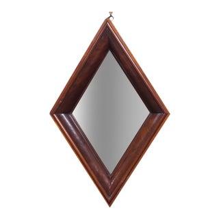 Quirky Diamond Shaped English Mahogany Cushion Mirror, circa 1820
